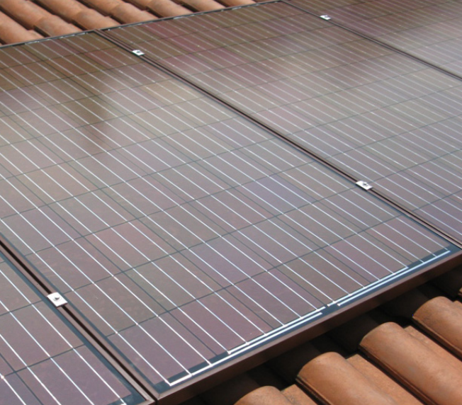 Brown coloured solar panels Leicester